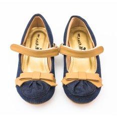 Minetha Kid Shoes Sepatu Anak Perempuan Balerina Flat Usia 1-12 tahun/Jeans-Brown/MACY