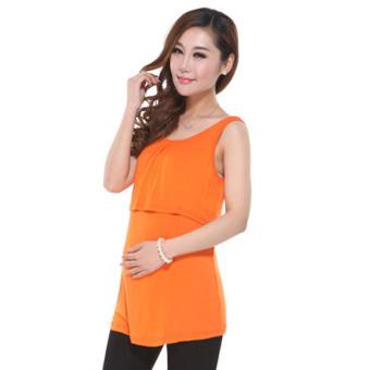 55a622bbfba89 Modal Pregnancy Maternity Clothes Sleeveless Maternity Top Nursing Tank Top  For Pregnant Women (Orange)