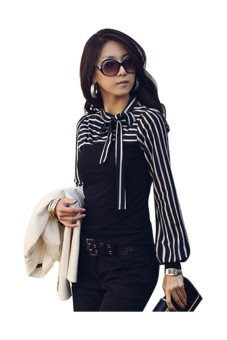 Fashion Women Striped Slim Long Sleeve Bowknot Bussiness T Shirt Blouse Tops Black