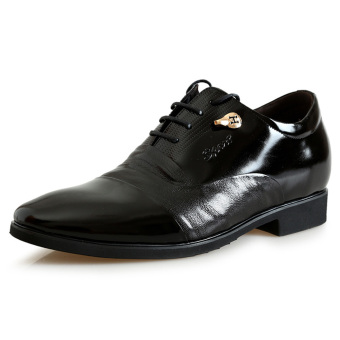MP118152.2.56 Inches Taller-Genuine Leather Invisible Elevator Oxfords For Men Formal Business Wedding Shoes Color Black (Intl)
