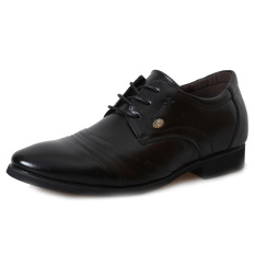 MP1187 Genuine Leather Height Increasing Elevator Shoes Men's Formal Business Shoes Elevated 2.36 Inches Color Black (Intl)