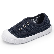 MSHOES Girl's Casual Walking Shoes Breathable Hollow Mesh Sneakers Shoes (Navy Blue) - intl