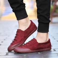 MSHOES Men Imported Suede Leather Sneakers Casual Shoes (Maroon) - intl
