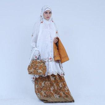 Mukena Hantaran Nikah Indah Satin Sutra Elegan Yoryu Ukhuwah - Batik Orange
