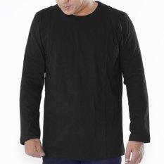 Muscle Fit Kaos Polos T-shirt O-neck Lengan Panjang Cotton - Hitam