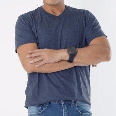 Muscle Fit Kaos Polos T-shirt V-neck Lengan Pendek Cotton - Misty Navy