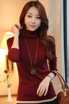 Musim gugur Musim dingin Cityhome leher tinggi pelompat pagar sweter tebal tipis Perempuan (merah anggur