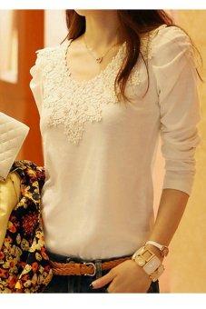 Musim gugur Musim Semi kasual Toprank Childrens kemeja lengan panjang renda cantik langsing Top elegan blus