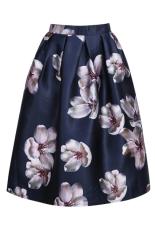 Musim panas musim semi Flower print Toprank lipit gaun pesta untuk wanita rok midi pemain skat Saia (Biru)