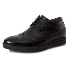 MX19.2.36 Inches Taller-Genuine Leather Height Increasing Elevator Brogue Fashion Business Casual Shoes Color Black (Intl)