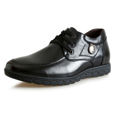 MX700.1.97 Inches Taller-Genuine Leather Height Increasing Elevator Shoes Business Flat Leather Shoes Color Black (Intl)