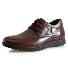 MX700.1.97 Inches Taller-Genuine Leather Height Increasing Elevator Shoes Business Flat Leather Shoes Color Brown (Intl)