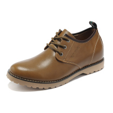 MX889.2.36 Inches Taller-Genuine Leather Height Increasing Elevator Oxfords Business Casual Shoes Color Khaki (Intl)