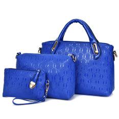 New 2016 Women Leather Handbag Women + Messenger Bag + Purse 3 Sets (Blue) - Intl - Intl