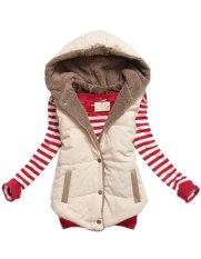 New Arrival Spring Autumn Winter Sleeveless Women's Hooded Vest Coat Lady Fashion Casual Waistcoat-beige-M - Intl