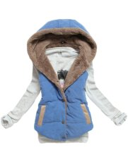 New Arrival Spring Autumn Winter Sleeveless Women's Hooded Vest Coat Lady Fashion Casual Waistcoat (Blue) (EXPORT)
