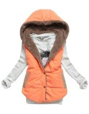 New Arrival Spring Autumn Winter Sleeveless Women's Hooded Vest Coat Lady Fashion Casual Waistcoat-orange-M (EXPORT)