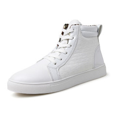 New Arrive Massage Shoes Men Lace Up High Top Boots Increasing Casual Shoes Man (White)