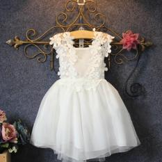 New Baby Girl Dress Summer White Lace Yarn Party Princess Dress For 2-9 Yrs - intl