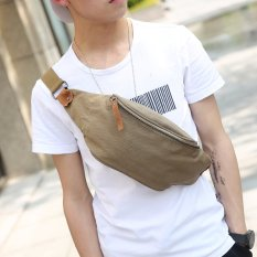 New Canvas Waist Bag Chest Bag Korean Men Chest Bag Men's Handbag Small Bag Fashion Waist Bag Chest Bag -Army Green - Intl