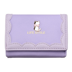 New Clutch Checkbook Metal Cat Change Coin Bag Women Purse Ladies Handbag Wallet Light Purple