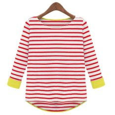 New Design Autumn Woman Cotton Striped Long-sleeved T-shirt Bottoming Shirt Blouses ϼ