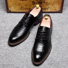 New Fashion British Style Brand Classic Men's Crocodile Lines Shoes Mens Dress Business Shoes Leather Shoes-black - Intl