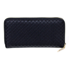 New Fashion Lady Leather Clutch Wallet Long Card Holder Case Purse (Black)