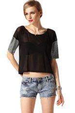 New Fashion Lady Women's O-neck Short Sleeve Short T-shirt Black (Intl)