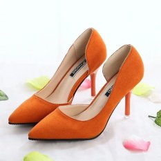 New Fashion Side Empty Suede Fine with Pointed High-heeled Shoes(Orange) - intl