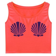 New Fashion Women O-Neck Sleeveless Print Crop Top Sexy Casual Tank Top ONE SIZE-watermelon Red- (EXPORT)