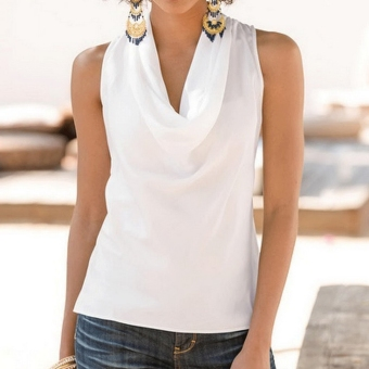 New Fashion Women Sleeveless Cowl Neck Tank Tops Pure Color Satin Casual Basic Tops - intl
