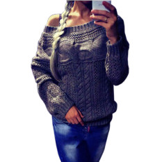 New High Quality Women Casual Solid Pullover Long Sleeve Hollow Out Loose Slim Sweater Plus Size O Neck Women's Sweater Grey - Intl