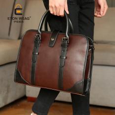 New Korean Men Portable Bag Men's Handbag Business Bag Fashion Single Shoulder Bag Briefcase Old School Crossbody Bag -Coffee