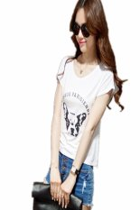 New Lady Women's Fashion Short Sleeve O-Neck Casual Loose Letter Print Graphic Tees T-Shirt (White)