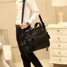New Men Single Shoulder Bag Crossbody Bag Portable Bag Korean Men's Handbag Leisure Men's Handbag Big Bag Travel Bag Cool -Black Small Size