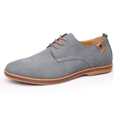 New Men's Genuine Leather Casual Shoes Men Business Shoes Tide Brand Men's Casual Shoes Plus Size 38-48 (Grey)