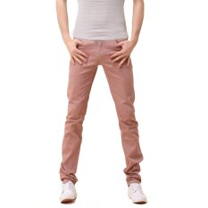 New Mens Stylish Candy Pants Casual Skinny Slim Elasticity Pants Jeans Trousers (Brown) (Intl)
