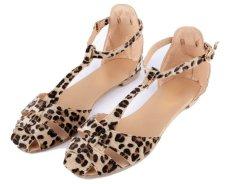 New Restoring Women Ladies Sandals Leopard Print Flat Heel Women's Sandals Shoes (EXPORT)