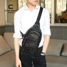 New Rivet Chest Bag Soft Leather Hand-washed Leather Small Backpack Single Shoulder Backpack Korean Men's Handbag Leisure Chest Bag -Black