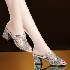 New sandals Women with high heels leisure slippers(SILVER) - intl