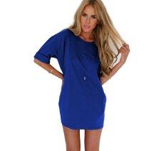 New Sexy Women Summer Casual Sleeveless Evening Party Cocktail Short Mini Dress L1003-Blue (Intl)