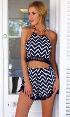 New Sexy Women Two-Piece Set Stripe Halterneck Backless Tassel Crop Top Shorts Beach Suit Dark Blue