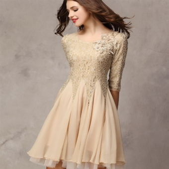 ee0e720c6a New Summer Lady s Lace Pleated Dresses 3 4 Sleeve Slim Ball Gown Party  Beige Dress