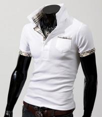 New Summer Men's Color Lattice POLO Shirt Short Sleeved Lapel Collar Male POLO T-shirts