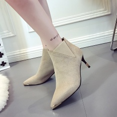 New winter British female suede short boots pointed joker sheet boots sexy zipper naked fine with high heels boots - intl