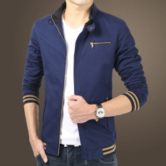 New Winter Fashion Mens Long Sleeve Slim Bomber Jacket (Navy Blue) - Intl