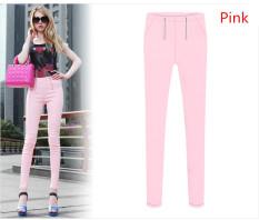 New Women Korean Double Zipper Pencil Pants Elastic Feet Plus Size S-5XL Pink (Intl) - Intl