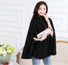 New Women&039;s Fashion Batwing Sleeve Casual Loose Warm Thickening Cloak Coat Jacket Overcoat-black-M (EXPORT)