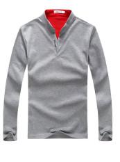 New Men's Long Sleeved POLO Shirt Collar Placket Stamp Paul Shirts Grey (Intl)